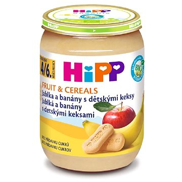 HiPP BIO Jablka a banány s dětskými keksy - 6× 190 g (4062300279506)