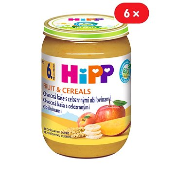 HiPP BIO Ovocná kaše s celozrnnými obilovinami - 6× 190 g (4062300279568)