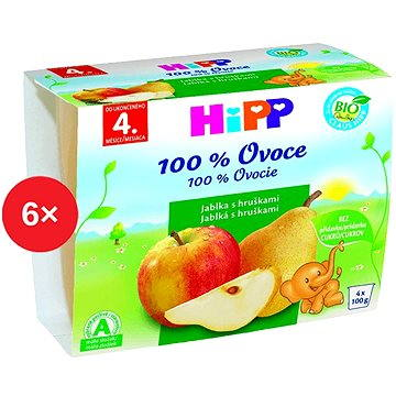HiPP BIO Jablka s hruškami - 6× (4× 100 g) (9062300421894)