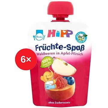 HiPP BIO Fruit Fun Jablko-Broskev-Lesní ovoce - 6× 90 g (9062300433477)