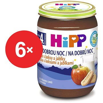 HiPP BIO Kaše na dobrou noc s keksy a jablky - 6× 190 g (4062300286641)