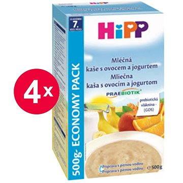 HiPP Mléčná kaše s ovocem a jogurtem Praebiotik - 4× 500 g (9062300427155)