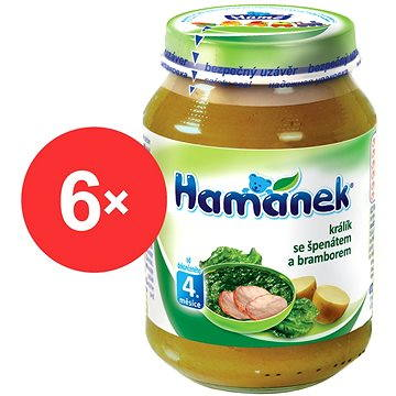 Hamánek Králík se špenátem a bramborem 6× 190 g (23606750000063)