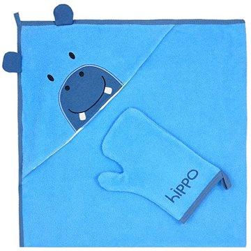 Koala Dětská osuška s žínkou - modrá