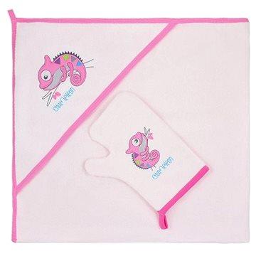 Dětská osuška Bobas Fashion Dětská osuška s žínkou Chameleon - růžová
