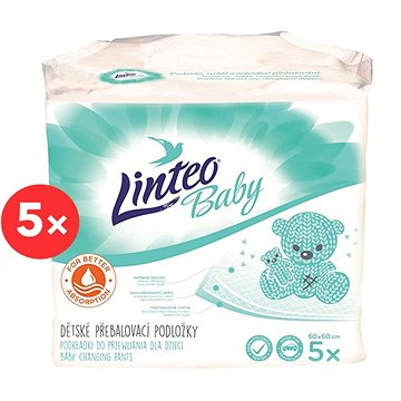 LINTEO BABY Přebalovací podložky 60 × 60 cm, 5× 5 ks