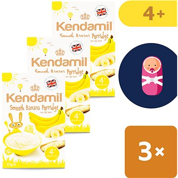 Kendamil Jemná dětská banánová kaše 3× 125 g (5056000507983)