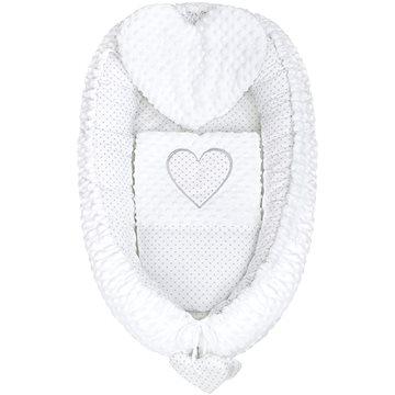 New Baby Luxusní hnízdečko s polštářkem a peřinkou Srdíčko - bílé (8596164038925)