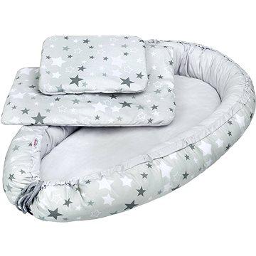 New Baby Luxusní hnízdečko s peřinkou a polštářkem hvězdičky - bílo-šedé (8596164029831)
