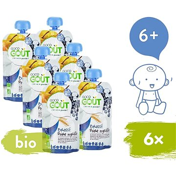 Good Gout BIO Hruškový jogurt s borůvkami 6× 90 g