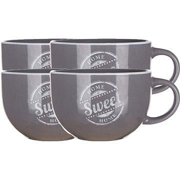 BANQUET Hrnek keramický jumbo SWEET HOME 730 ml, šedý, 4ks (60337158)