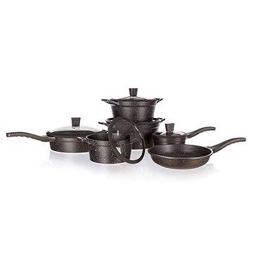 BANQUET Sada nádobí s nepřilnavým povrchem GRANITE Dark Brown, 11 ks (40050615)