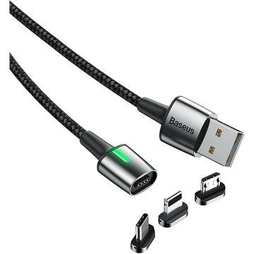 Baseus Zinc Magnetic Cable Kit microUSB + USB-C + Lightning 1m Black (TZCAXC-F01)