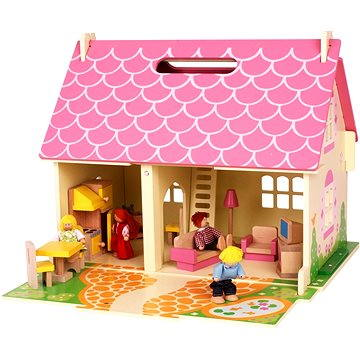 Prenosný drevený domček pre bábiky (691621261231)