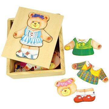 Drevené obliekacie puzzle v krabičke - Pani Medvedica(691621087640)