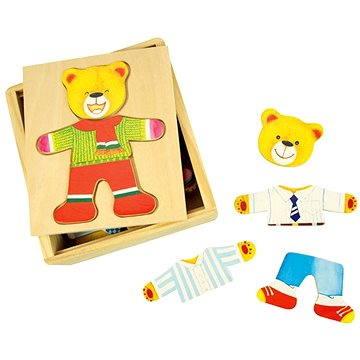 Drevené obliekacie puzzle v krabičke – Pán Medveď(691621087657)