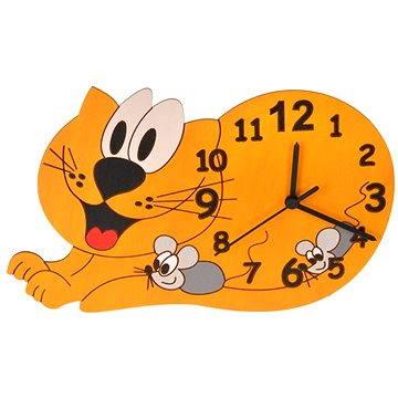 Hodiny do dětského pokoje Dětské dřevěné hodiny - Kočka (8594155460281)