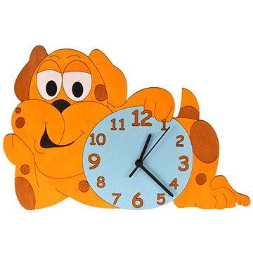 Hodiny do dětského pokoje Dětské dřevěné hodiny - Pejsek (8594155461349)