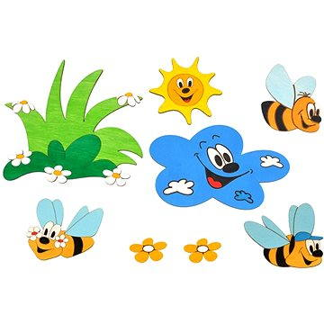 Dřevěná dekorace - Sestavy dekorací louka a včelky (8594155460427)