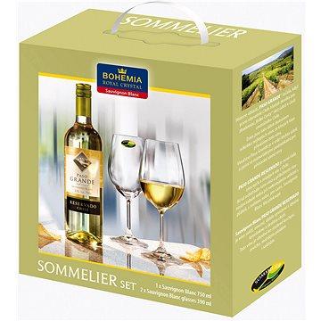 Bohemia Royal Crystal Sada sklenic na bílé víno 2 ks 390 ml + víno Sauvignon Blanc 750ml (16981)