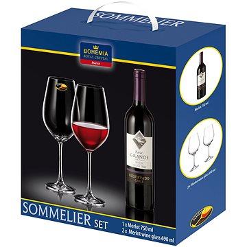 Bohemia Royal Crystal Sada sklenic na červené víno 2ks 690 ml + víno Merlot 750ml (16982)