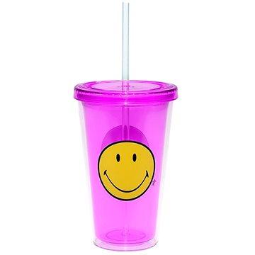 ZAK Dvoustěnná ICE plastová sklenice SMILEY 490ml fuchsia (6187-0851)