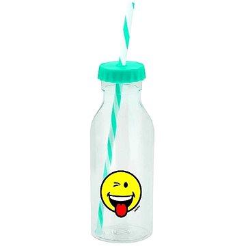 ZAK Soda láhev s brčkem SMILEY 550ml modrá (6727-0171)