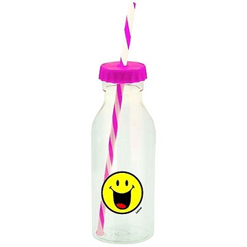 ZAK Soda láhev s brčkem SMILEY 550ml fuchsia (6727-0172)