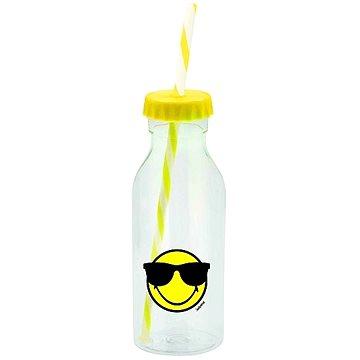 ZAK Soda láhev s brčkem SMILEY 550ml žlutá (6727-0175)