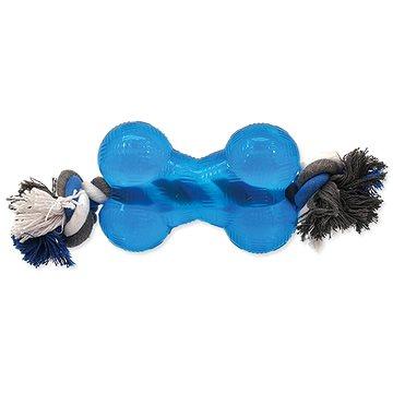 DOG FANTASY hračka strong kost guma s provazem modrá 13,9 cm (8595091780495)