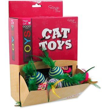 MAGIC CAT hračka míček s pruhy a pírky bavlna 4,5 cm 30 ks (8595091786565)