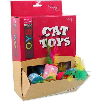 MAGIC CAT hračka válec s pírky bavlna 5 cm 24 ks (8595091786718)