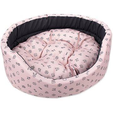 DOG FANTASY pelech oval 83 × 73 × 20 cm piktogram mix růžový (8595091797417)