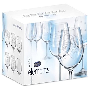 BOHEMIA CRYSTAL na víno 450ml 6ks ELEMENTS (8593401842512)