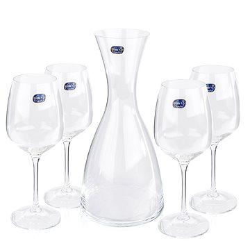 BOHEMIA CRYSTAL Sada karafa a sklenice na víno GISELLE WINE SET 5ks (31A48/1200/5)