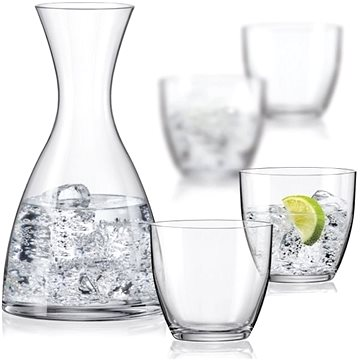 BOHEMIA CRYSTAL WATER SET karafa a sklenice na vodu 5ks (31A48/1200/5B)