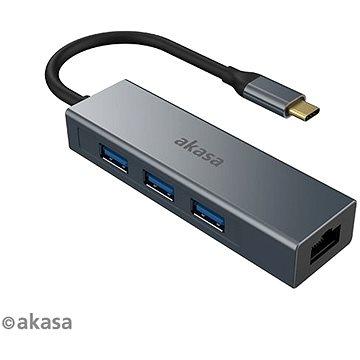 AKASA USB Type-C 4-in-1 Hub - 3 x USB3.0 Type A s Ethernetem / AK-CBCA20-18BK (AK-CBCA20-18BK)