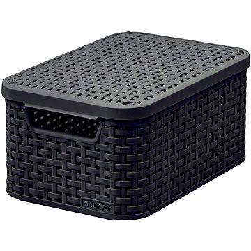 Curver Úložný box RATTAN Style2 s víkem S, černý (03617-210)