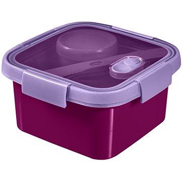 Curver SMART TO GO 1,1l s příborem, mističkou a táckem - fialová (00950-Y34-00)