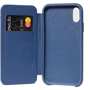 Decoded Leather Slim Wallet Blue iPhone XS Max (D8IPO65SW3LB)