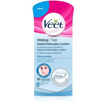 Veet voskové pásky s proužkem na obličej pro ciltivou pleť 20 ks + ZDARMA Gumičky Veet gumičky do vlasů 3ks