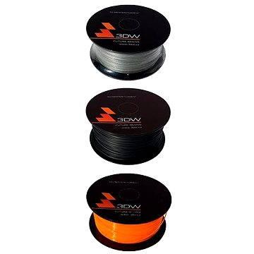 3DW PLA 1.75mm 1kg černá + stříbrná + oranžová
