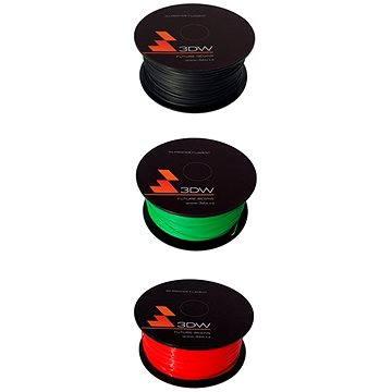 3DW PLA 1.75mm 0.5kg červená + zelená + černá