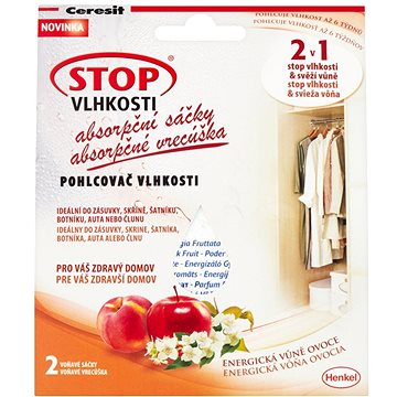 Pohlcovač vlhkosti CERESIT Stop Vlhkosti 2v1 - absorpční sáčky energické ovoce 2 x 50 g (9000100937870)