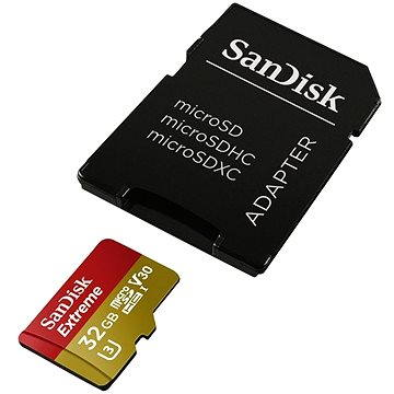 SanDisk MicroSDHC 32GB Extreme UHS-I (V30) + SD adaptér, GoPro Edition (SDSQXVF-032G-GN6AA)