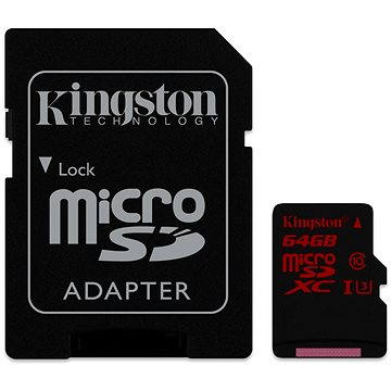Kingston MicroSDXC 64GB UHS-I U3 + SD adaptér (SDCA3/64GB)