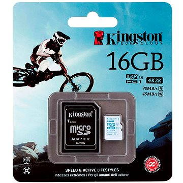Kingston Micro SDHC 16GB Class 10 UHS-I U3 Action Camera + SD adaptér (SDCAC/16GB)
