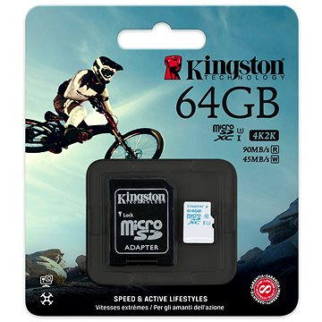 Kingston Micro SDXC 64GB Class 10 UHS-I U3 Action Camera + SD adaptér (SDCAC/64GB)