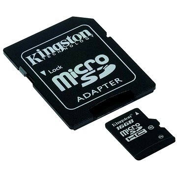 Kingston Micro SDHC 16GB Class 10 UHS-I + SD adaptér (SDC10G2/16GB)