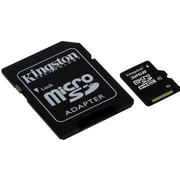 Kingston Micro SDHC 32GB Class 10 UHS-I + SD adaptér (SDC10G2/32GB)